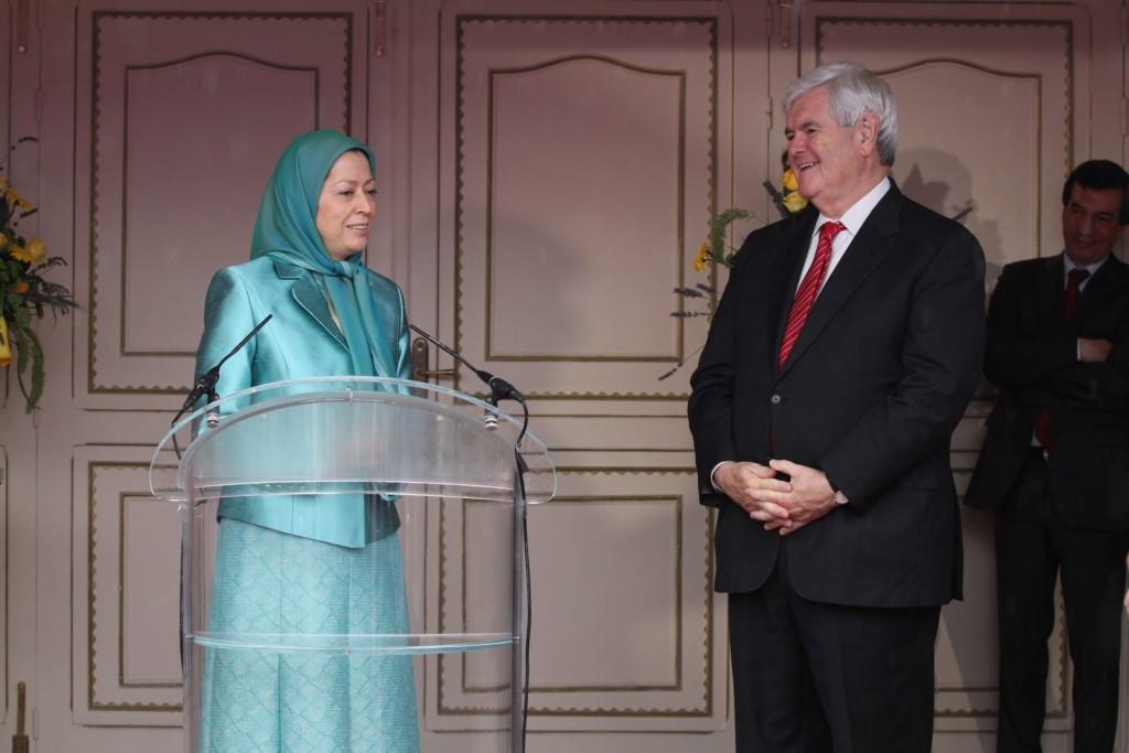 دیدار نیوت گینگریچ رئیس پیشین کنگره آمریکا، کاندیدای ریاست جمهوری، با مریم رجوی