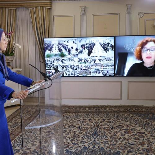 سخنرانی ایلونا جبریا دبیر کمیته روابط خارجی پارلمان آلبانی، در کنفرانس همبستگی عربی- اسلامی با مردم و مقاومت ایران