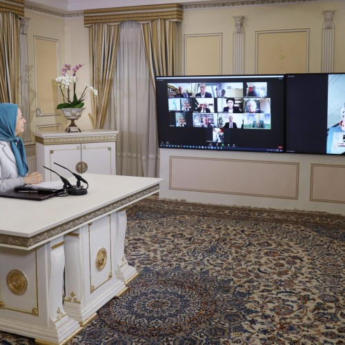 سخنرانی نماینده مجلس فرانسه فدریک رایس در کنفرانس اینترنتی کمیته پارلمانی برای ایران دمکراتیک با حضور نمایندگان و سناتورهای فرانسه