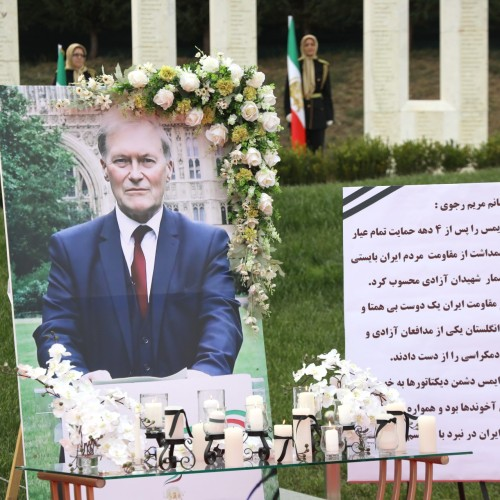 گرامیداشت دیوید ایمس نماینده پارلمان بریتانیا و حامی مقاومت ایران در اشرف۳